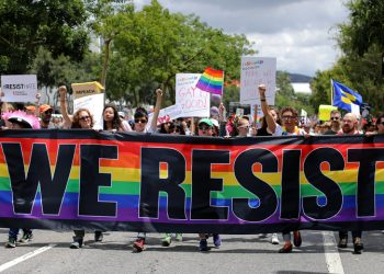 The annual Pride Parade is replaced with a Resist March as members of the LGBT community protest President Donald Trump in West Hollywood, California, U.S. June 11, 2017. REUTERS/Mike Blake TPX IMAGES OF THE DAY